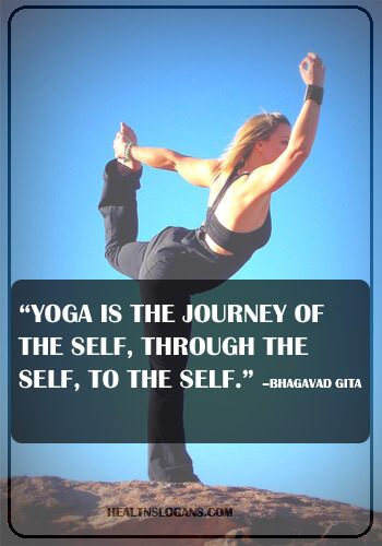 "meditation slogans - ""Yoga is the journey of the self, through the self, to the self."" –The Bhagavad Gita"