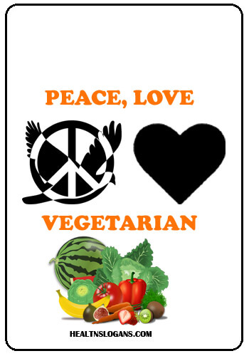 Vegetable slogans - Peace, love, vegetarian