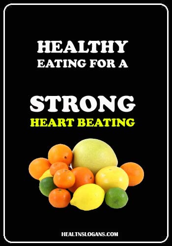slogan on world heart day - Healthy eating for a strong heart beating
