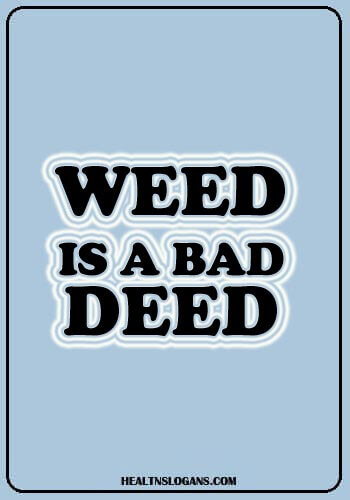 funny anti drug slogans - Weed is a bad deed