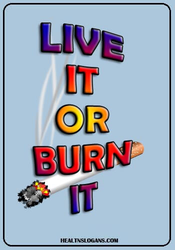 smoking slogans funny - Live it or Burn it