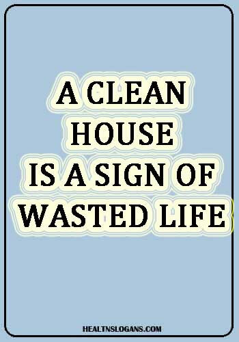 hygiene slogans - A clean house is a sign of wasted Life